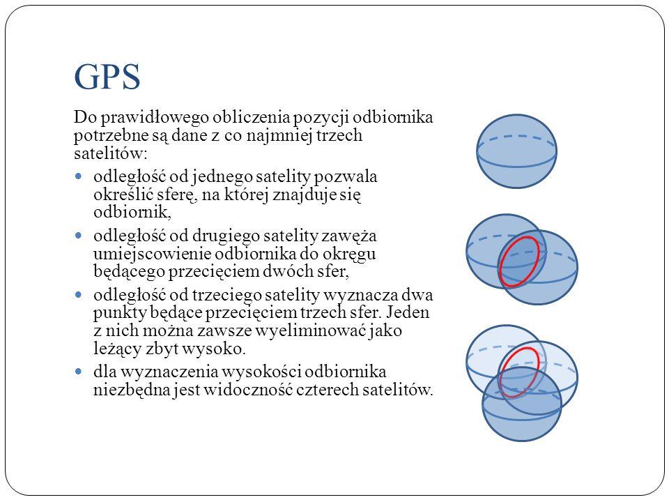 GPS Do prawidłowego obliczenia pozycji odbiornika potrzebne są dane z co najmniej trzech satelitów: odległość od jednego satelity pozwala określić sfe