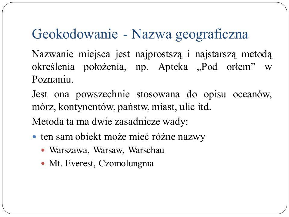 Geokodowanie - Nazwa geograficzna Nazwanie miejsca jest najprostszą i najstarszą metodą określenia położenia, np. Apteka Pod orłem w Poznaniu. Jest on
