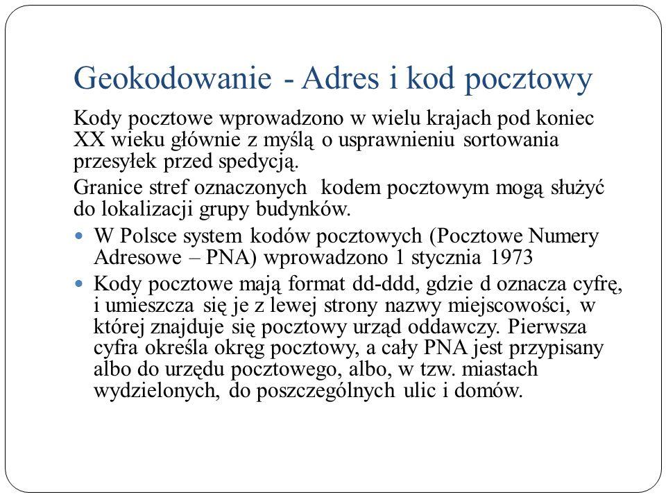 Geokodowanie - Adres i kod pocztowy Kody pocztowe wprowadzono w wielu krajach pod koniec XX wieku głównie z myślą o usprawnieniu sortowania przesyłek