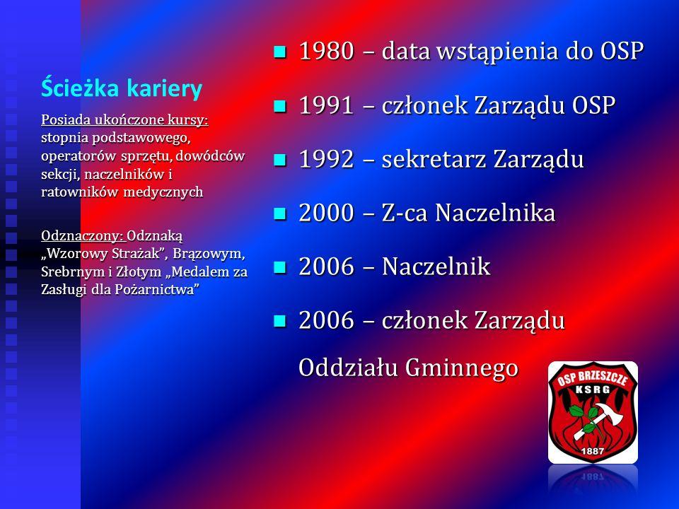Ścieżka kariery 1980 – data wstąpienia do OSP 1980 – data wstąpienia do OSP 1991 – członek Zarządu OSP 1991 – członek Zarządu OSP 1992 – sekretarz Zar