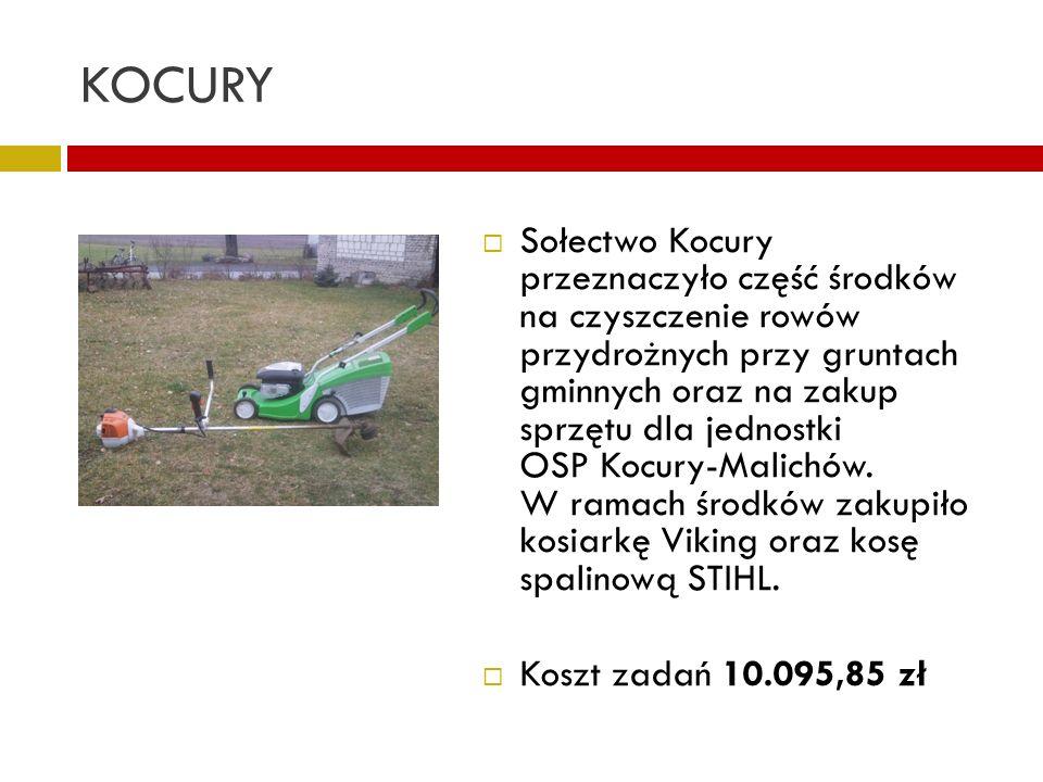 KOCURY Sołectwo Kocury przeznaczyło część środków na czyszczenie rowów przydrożnych przy gruntach gminnych oraz na zakup sprzętu dla jednostki OSP Koc