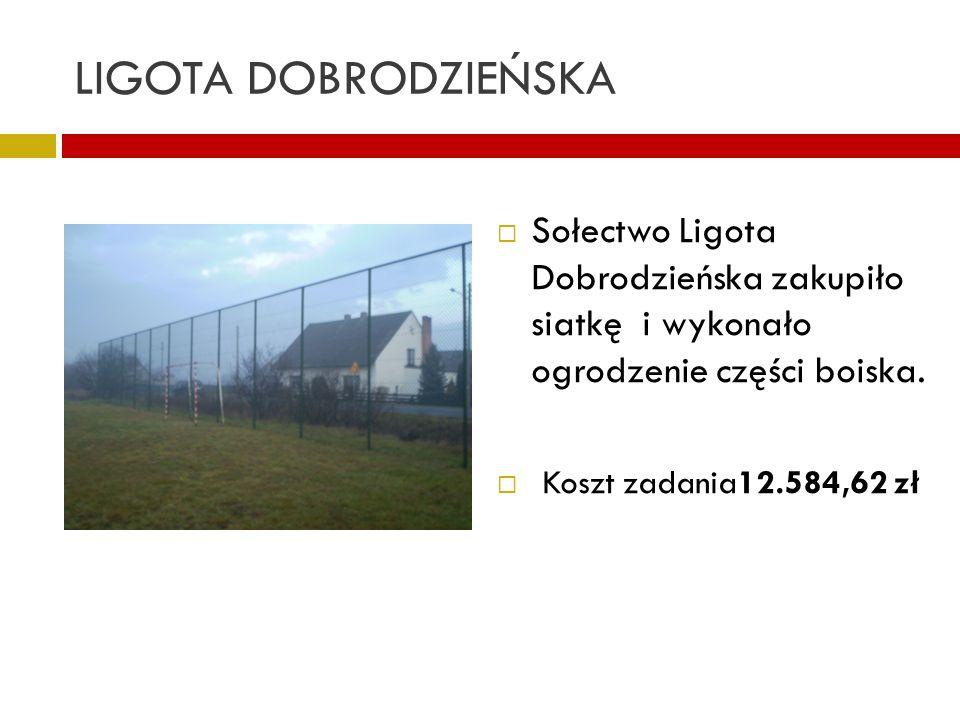 LIGOTA DOBRODZIEŃSKA Sołectwo Ligota Dobrodzieńska zakupiło siatkę i wykonało ogrodzenie części boiska. Koszt zadania12.584,62 zł