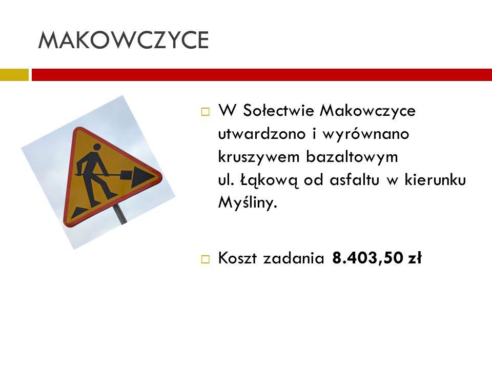 MAKOWCZYCE W Sołectwie Makowczyce utwardzono i wyrównano kruszywem bazaltowym ul. Łąkową od asfaltu w kierunku Myśliny. Koszt zadania 8.403,50 zł