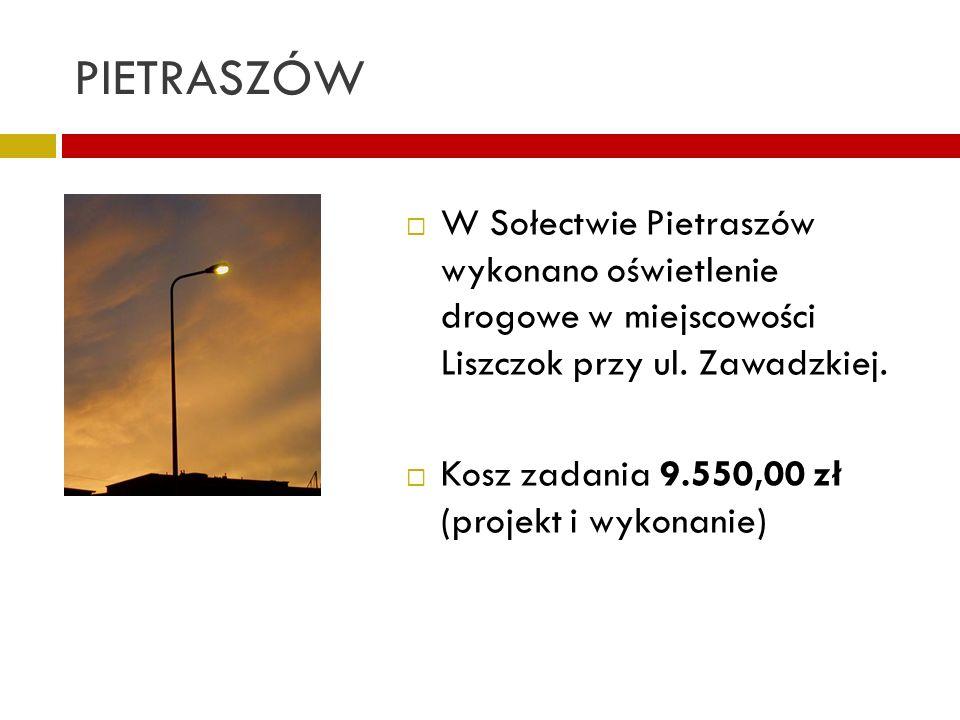 PIETRASZÓW W Sołectwie Pietraszów wykonano oświetlenie drogowe w miejscowości Liszczok przy ul. Zawadzkiej. Kosz zadania 9.550,00 zł (projekt i wykona