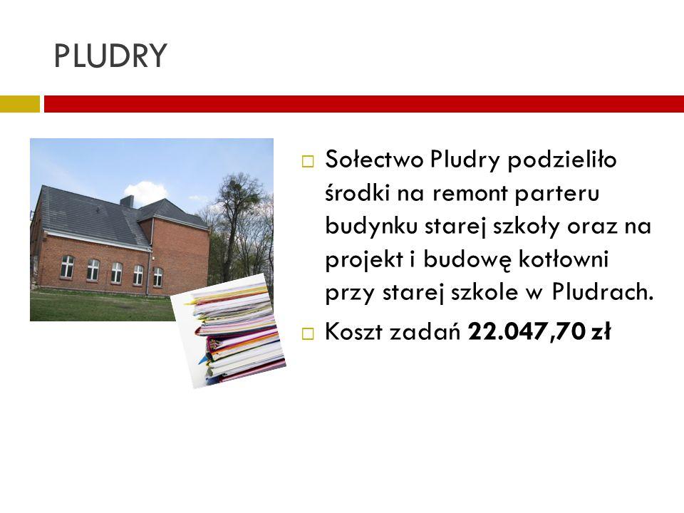 PLUDRY Sołectwo Pludry podzieliło środki na remont parteru budynku starej szkoły oraz na projekt i budowę kotłowni przy starej szkole w Pludrach. Kosz