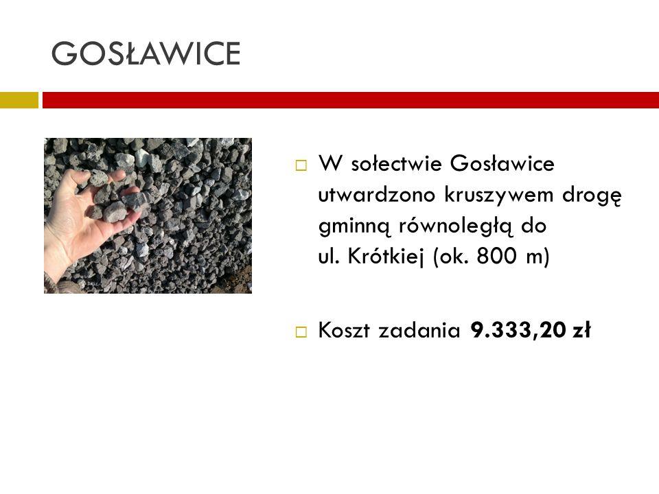 GOSŁAWICE W sołectwie Gosławice utwardzono kruszywem drogę gminną równoległą do ul. Krótkiej (ok. 800 m) Koszt zadania 9.333,20 zł