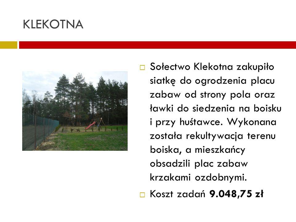 KLEKOTNA Sołectwo Klekotna zakupiło siatkę do ogrodzenia placu zabaw od strony pola oraz ławki do siedzenia na boisku i przy huśtawce. Wykonana został