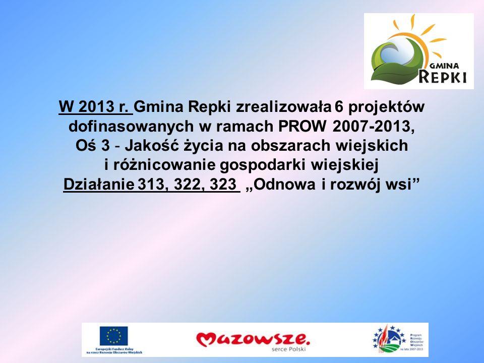 W 2013 r. Gmina Repki zrealizowała 6 projektów dofinasowanych w ramach PROW 2007-2013, Oś 3 - Jakość życia na obszarach wiejskich i różnicowanie gospo