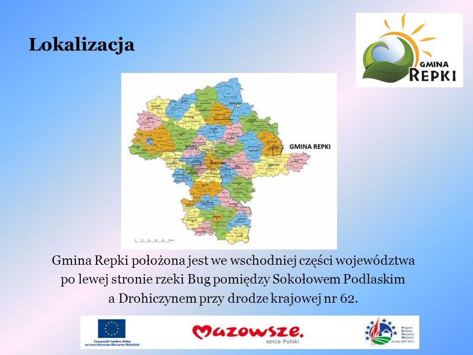 Lokalizacja Gmina Repki położona jest we wschodniej części województwa po lewej stronie rzeki Bug pomiędzy Sokołowem Podlaskim a Drohiczynem przy drod