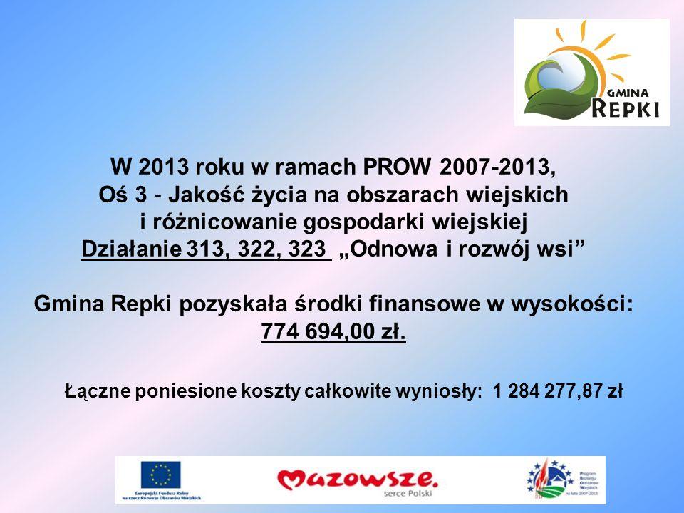 W 2013 roku w ramach PROW 2007-2013, Oś 3 - Jakość życia na obszarach wiejskich i różnicowanie gospodarki wiejskiej Działanie 313, 322, 323 Odnowa i r