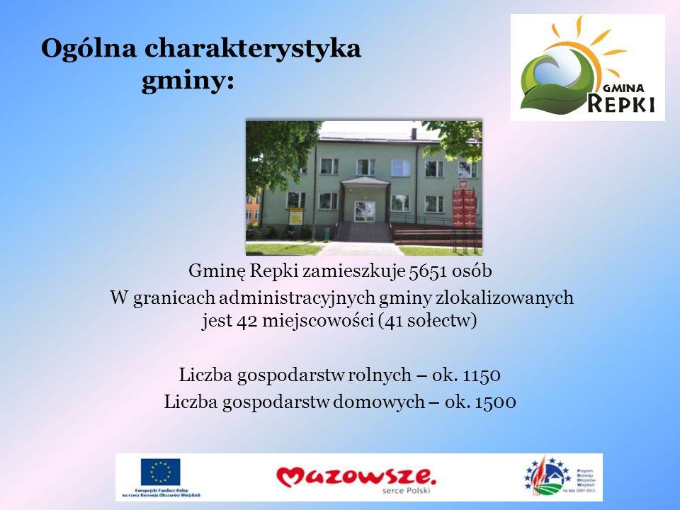 Ogólna charakterystyka gminy: Gminę Repki zamieszkuje 5651 osób W granicach administracyjnych gminy zlokalizowanych jest 42 miejscowości (41 sołectw)