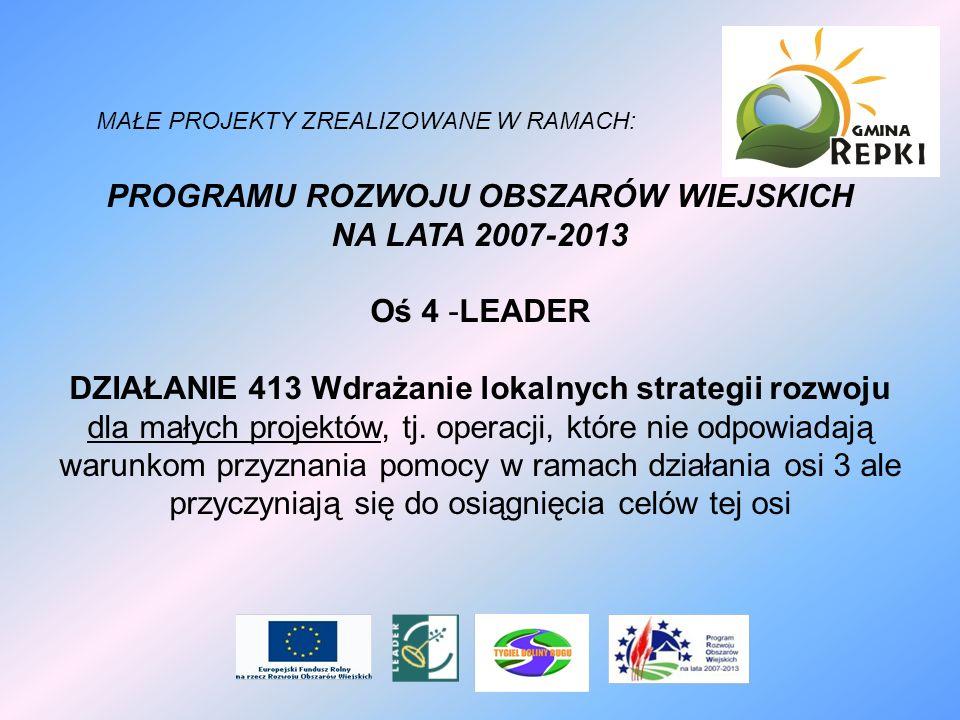 MAŁE PROJEKTY ZREALIZOWANE W RAMACH: PROGRAMU ROZWOJU OBSZARÓW WIEJSKICH NA LATA 2007-2013 Oś 4 -LEADER DZIAŁANIE 413 Wdrażanie lokalnych strategii ro