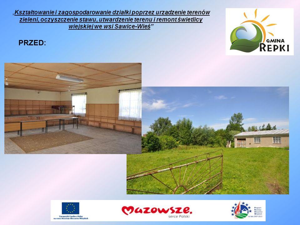 PRZED: Kształtowanie i zagospodarowanie działki poprzez urządzenie terenów zieleni, oczyszczenie stawu, utwardzenie terenu i remont świetlicy wiejskie
