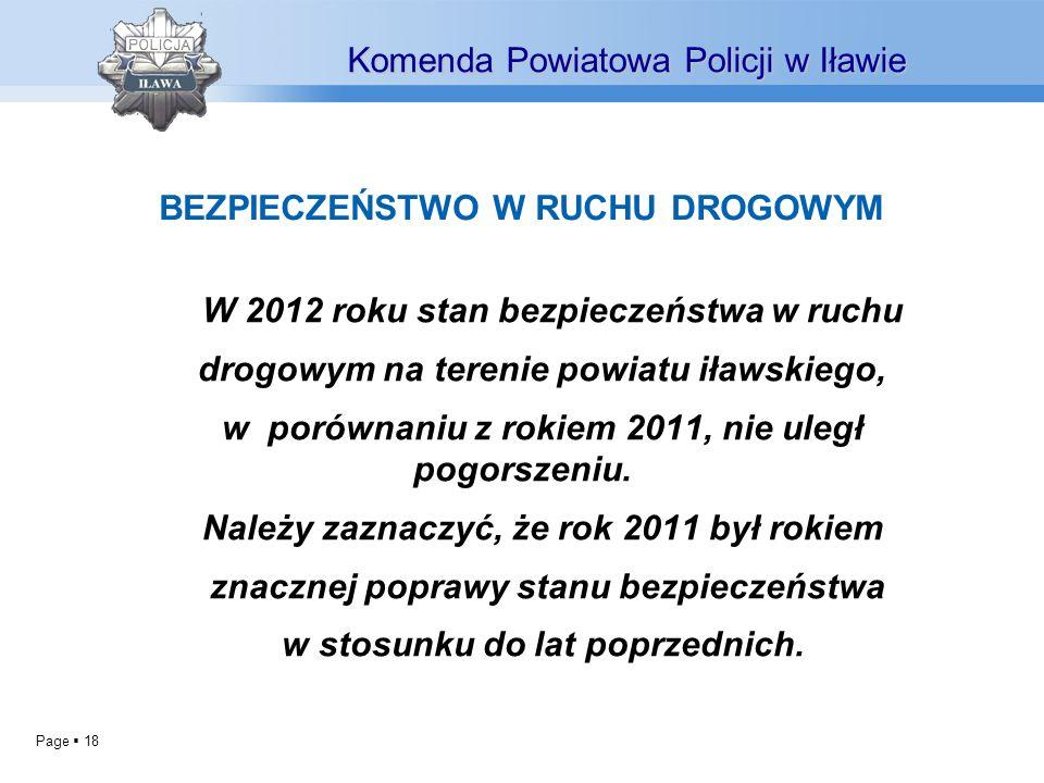 Page 18 W 2012 roku stan bezpieczeństwa w ruchu drogowym na terenie powiatu iławskiego, w porównaniu z rokiem 2011, nie uległ pogorszeniu. Należy zazn