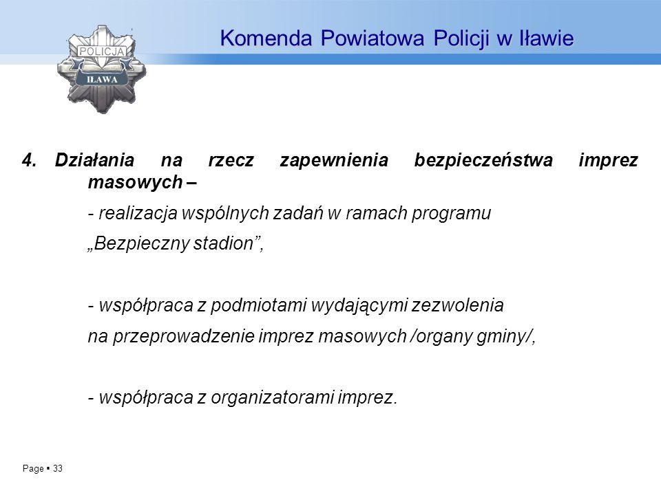 Page 33 4.Działania na rzecz zapewnienia bezpieczeństwa imprez masowych – - realizacja wspólnych zadań w ramach programu Bezpieczny stadion, - współpr