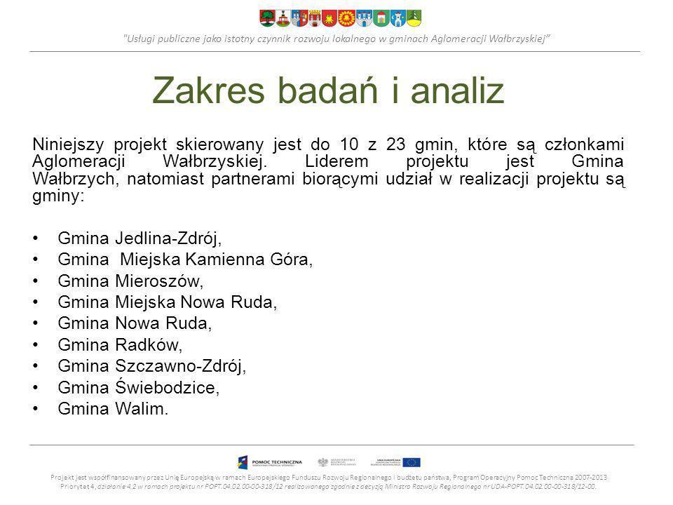 Usługi publiczne jako istotny czynnik rozwoju lokalnego w gminach Aglomeracji Wałbrzyskiej Zakres badań i analiz Niniejszy projekt skierowany jest do 10 z 23 gmin, które są członkami Aglomeracji Wałbrzyskiej.