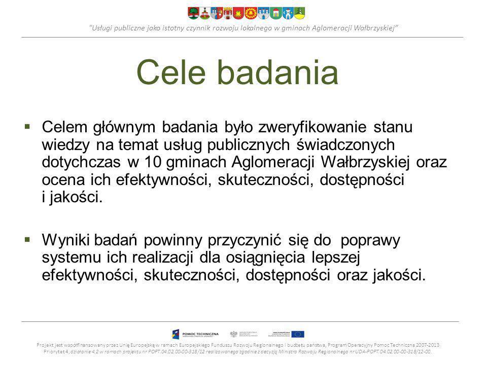 Usługi publiczne jako istotny czynnik rozwoju lokalnego w gminach Aglomeracji Wałbrzyskiej Cele badania Celem głównym badania było zweryfikowanie stanu wiedzy na temat usług publicznych świadczonych dotychczas w 10 gminach Aglomeracji Wałbrzyskiej oraz ocena ich efektywności, skuteczności, dostępności i jakości.