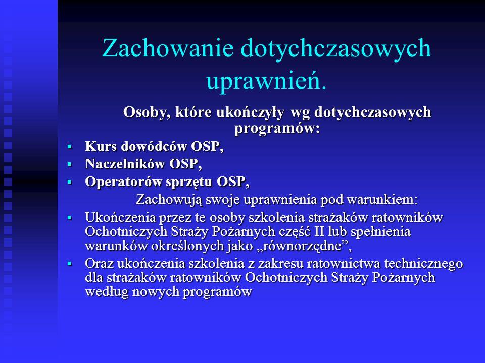 Zachowanie dotychczasowych uprawnień. Osoby, które ukończyły wg dotychczasowych programów: Kurs dowódców OSP, Kurs dowódców OSP, Naczelników OSP, Nacz