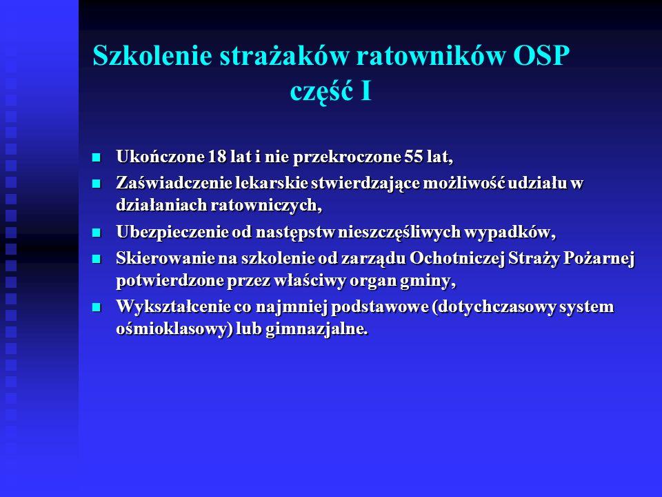 Szkolenie strażaków ratowników OSP część II Ukończone 18 lat i nie przekroczone 55 lat, Ukończone 18 lat i nie przekroczone 55 lat, Zaświadczenie lekarskie stwierdzające możliwość udziału w działaniach ratowniczych, Zaświadczenie lekarskie stwierdzające możliwość udziału w działaniach ratowniczych, Ubezpieczenie od następstw nieszczęśliwych wypadków, Ubezpieczenie od następstw nieszczęśliwych wypadków, Skierowanie na szkolenie od zarządu Ochotniczej Straży Pożarnej potwierdzone przez właściwy organ gminy, Skierowanie na szkolenie od zarządu Ochotniczej Straży Pożarnej potwierdzone przez właściwy organ gminy, Wykształcenie co najmniej podstawowe (dotychczasowy system ośmioklasowy) lub gimnazjalne.