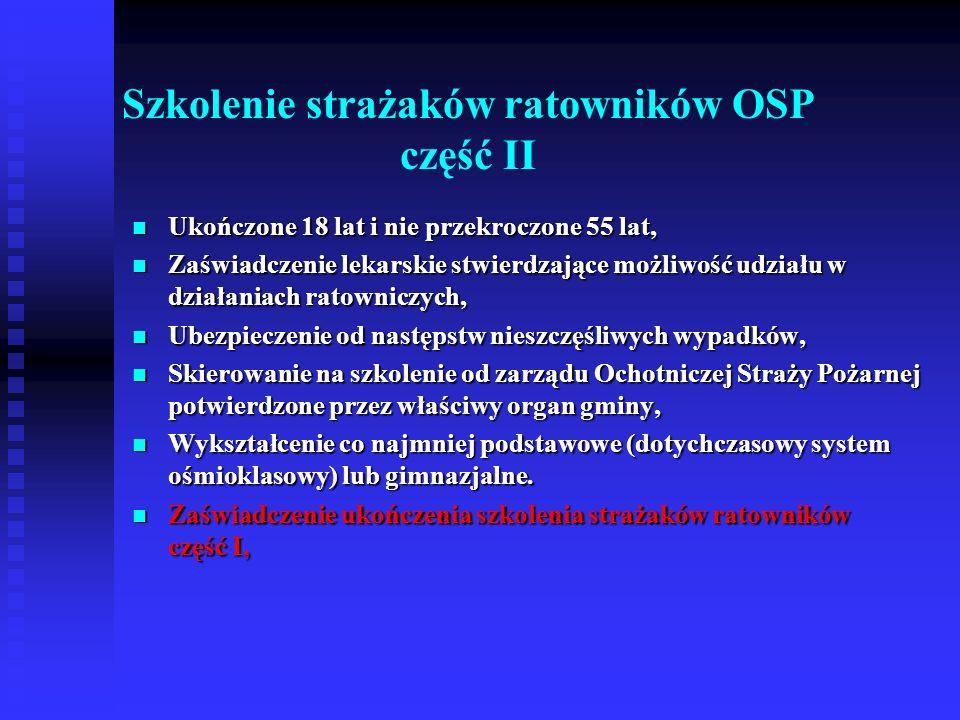 Szkolenie z zakresu ratownictwa technicznego dla strażaków ratowników OSP Ukończone 18 lat i nie przekroczone 55 lat, Ukończone 18 lat i nie przekroczone 55 lat, Zaświadczenie lekarskie stwierdzające możliwość udziału w działaniach ratowniczych, Zaświadczenie lekarskie stwierdzające możliwość udziału w działaniach ratowniczych, Ubezpieczenie od następstw nieszczęśliwych wypadków, Ubezpieczenie od następstw nieszczęśliwych wypadków, Skierowanie na szkolenie od zarządu Ochotniczej Straży Pożarnej potwierdzone przez właściwy organ gminy, Skierowanie na szkolenie od zarządu Ochotniczej Straży Pożarnej potwierdzone przez właściwy organ gminy, Wykształcenie co najmniej podstawowe (dotychczasowy system ośmioklasowy) lub gimnazjalne.
