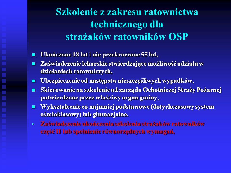 Szkolenie kierowców – konserwatorów sprzętu ratowniczego OSP Ukończone 18 lat i nie przekroczone 55 lat, Ukończone 18 lat i nie przekroczone 55 lat, Zaświadczenie lekarskie stwierdzające możliwość udziału w działaniach ratowniczych, Zaświadczenie lekarskie stwierdzające możliwość udziału w działaniach ratowniczych, Ubezpieczenie od następstw nieszczęśliwych wypadków, Ubezpieczenie od następstw nieszczęśliwych wypadków, Skierowanie na szkolenie od zarządu Ochotniczej Straży Pożarnej potwierdzone przez właściwy organ gminy, Skierowanie na szkolenie od zarządu Ochotniczej Straży Pożarnej potwierdzone przez właściwy organ gminy, Wykształcenie co najmniej podstawowe (dotychczasowy system ośmioklasowy) lub gimnazjalne, Wykształcenie co najmniej podstawowe (dotychczasowy system ośmioklasowy) lub gimnazjalne, Zaświadczenie ukończenia szkolenia strażaków ratowników OSP część II lub spełnienie równorzędnych wymagań, Zaświadczenie ukończenia szkolenia strażaków ratowników OSP część II lub spełnienie równorzędnych wymagań, Prawo jazdy wymaganej kategorii.