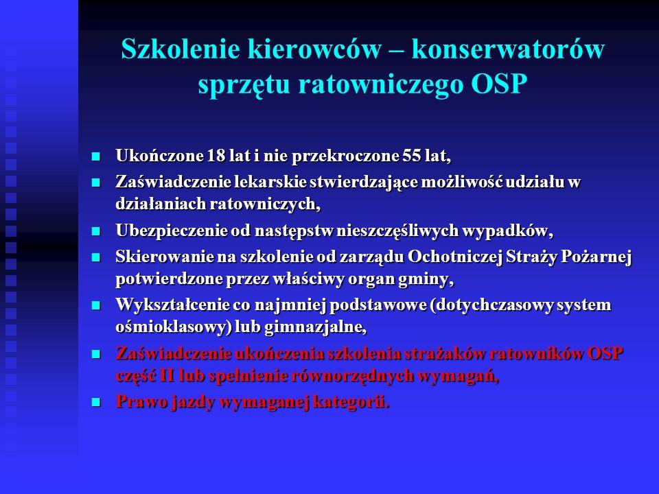 Szkolenie strażaków ratowników OSP z zakresu działań przeciwpowodziowych oraz ratownictwa na wodach Ukończone 18 lat i nie przekroczone 55 lat, Ukończone 18 lat i nie przekroczone 55 lat, Zaświadczenie lekarskie stwierdzające możliwość udziału w działaniach ratowniczych, Zaświadczenie lekarskie stwierdzające możliwość udziału w działaniach ratowniczych, Ubezpieczenie od następstw nieszczęśliwych wypadków, Ubezpieczenie od następstw nieszczęśliwych wypadków, Skierowanie na szkolenie od zarządu Ochotniczej Straży Pożarnej potwierdzone przez właściwy organ gminy, Skierowanie na szkolenie od zarządu Ochotniczej Straży Pożarnej potwierdzone przez właściwy organ gminy, Wykształcenie co najmniej podstawowe (dotychczasowy system ośmioklasowy) lub gimnazjalne, Wykształcenie co najmniej podstawowe (dotychczasowy system ośmioklasowy) lub gimnazjalne, Zaświadczenie ukończenia szkolenia strażaków ratowników OSP część II lub spełnienie równorzędnych wymagań.