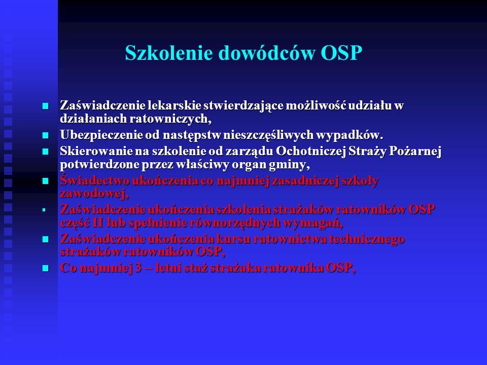 Szkolenie naczelników OSP Zaświadczenie lekarskie stwierdzające możliwość udziału w działaniach ratowniczych, Zaświadczenie lekarskie stwierdzające możliwość udziału w działaniach ratowniczych, Ubezpieczenie od następstw nieszczęśliwych wypadków, Ubezpieczenie od następstw nieszczęśliwych wypadków, Skierowanie na szkolenie od zarządu Ochotniczej Straży Pożarnej potwierdzone przez właściwy organ gminy, Skierowanie na szkolenie od zarządu Ochotniczej Straży Pożarnej potwierdzone przez właściwy organ gminy, Wykształcenie co najmniej średnie.