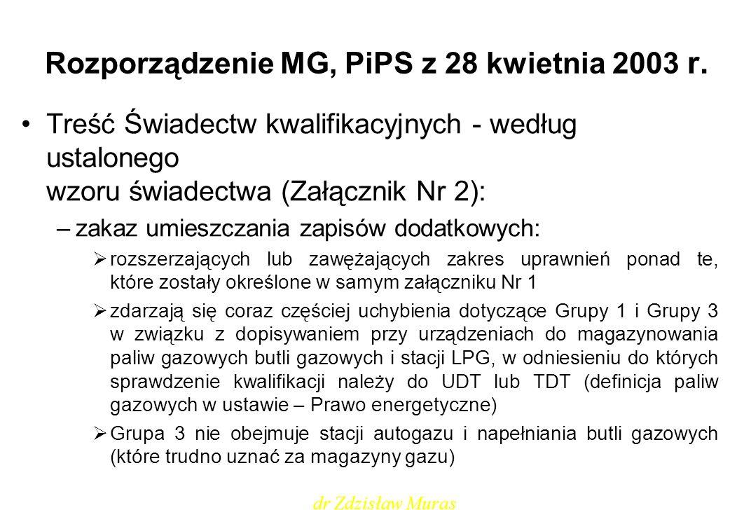 Rozporządzenie MG, PiPS z 28 kwietnia 2003 r. Treść Świadectw kwalifikacyjnych - według ustalonego wzoru świadectwa (Załącznik Nr 2): –zakaz umieszcza