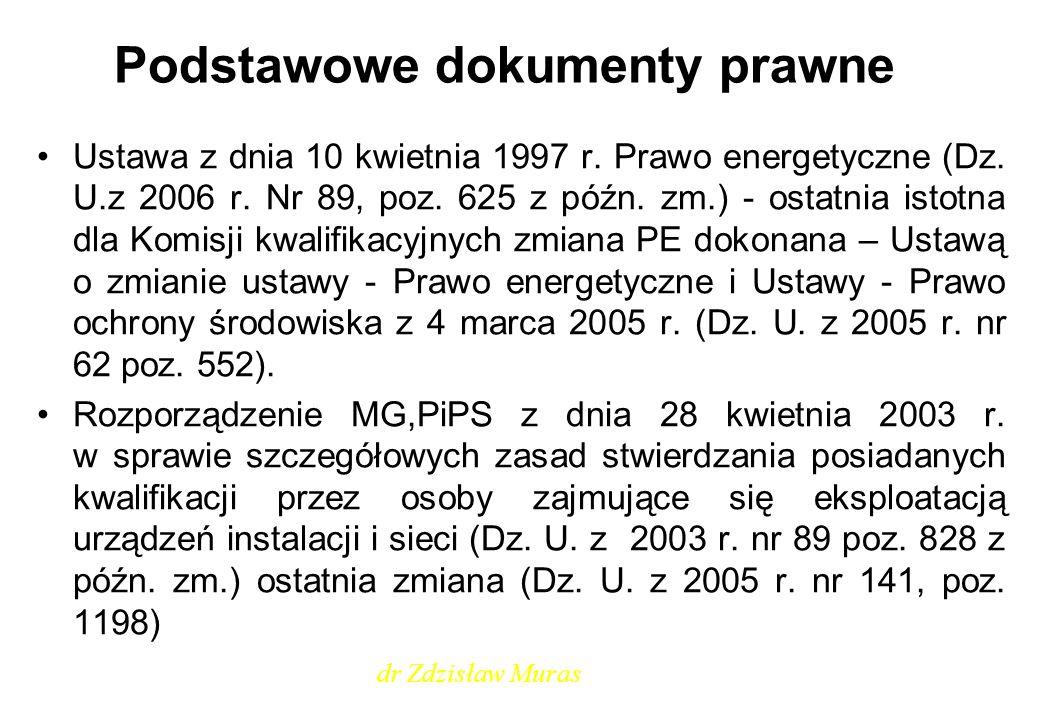 Podstawowe dokumenty prawne Ustawa z dnia 10 kwietnia 1997 r. Prawo energetyczne (Dz. U.z 2006 r. Nr 89, poz. 625 z późn. zm.) - ostatnia istotna dla