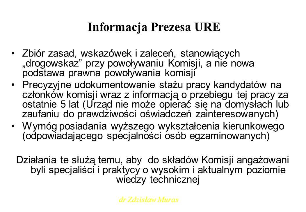 Informacja Prezesa URE Ewentualna korekta zapisów Informacji PURE z 2006 r.