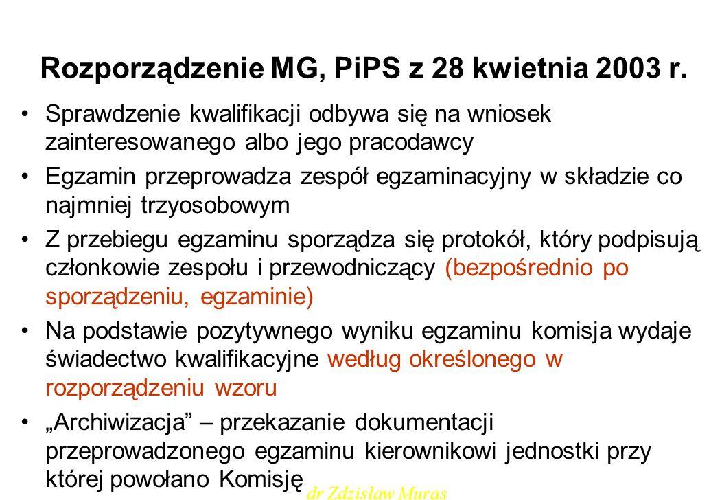 Rozporządzenie MG, PiPS z 28 kwietnia 2003 r. Sprawdzenie kwalifikacji odbywa się na wniosek zainteresowanego albo jego pracodawcy Egzamin przeprowadz