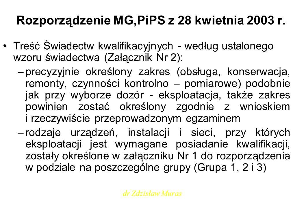 Rozporządzenie MG,PiPS z 28 kwietnia 2003 r. Treść Świadectw kwalifikacyjnych - według ustalonego wzoru świadectwa (Załącznik Nr 2): –precyzyjnie okre