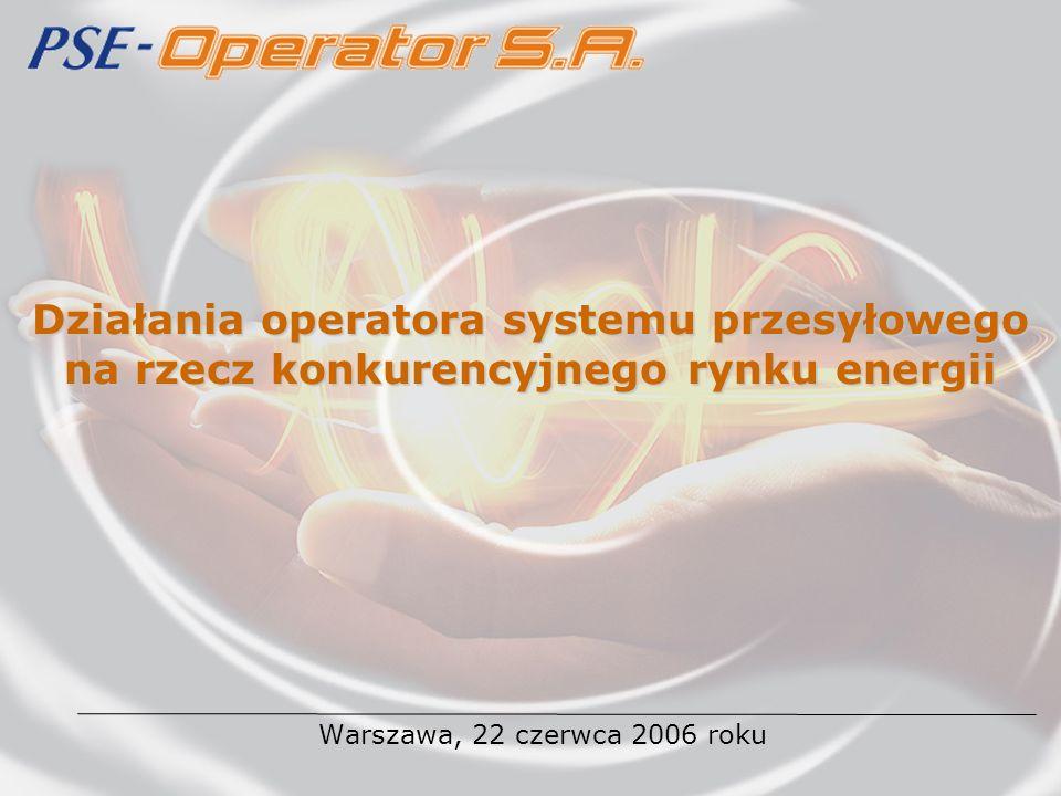 Działania operatora systemu przesyłowego na rzecz konkurencyjnego rynku energii Warszawa, 22 czerwca 2006 roku