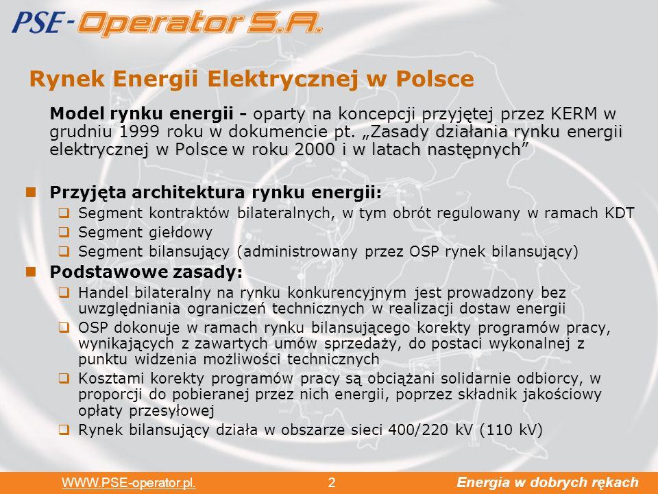 Energia w dobrych rękach WWW.PSE-operator.pl. 2 Rynek Energii Elektrycznej w Polsce Zasady działania rynku energii elektrycznej w Polsce w roku 2000 i