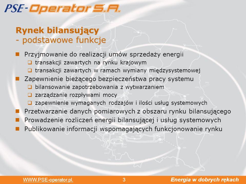 Energia w dobrych rękach WWW.PSE-operator.pl. 3 Rynek bilansujący - podstawowe funkcje Przyjmowanie do realizacji umów sprzedaży energii transakcji za