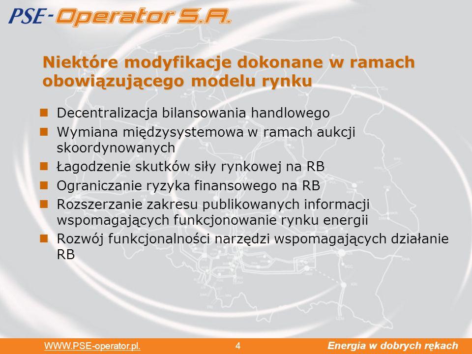 Energia w dobrych rękach WWW.PSE-operator.pl. 4 Niektóre modyfikacje dokonane w ramach obowiązującego modelu rynku Decentralizacja bilansowania handlo