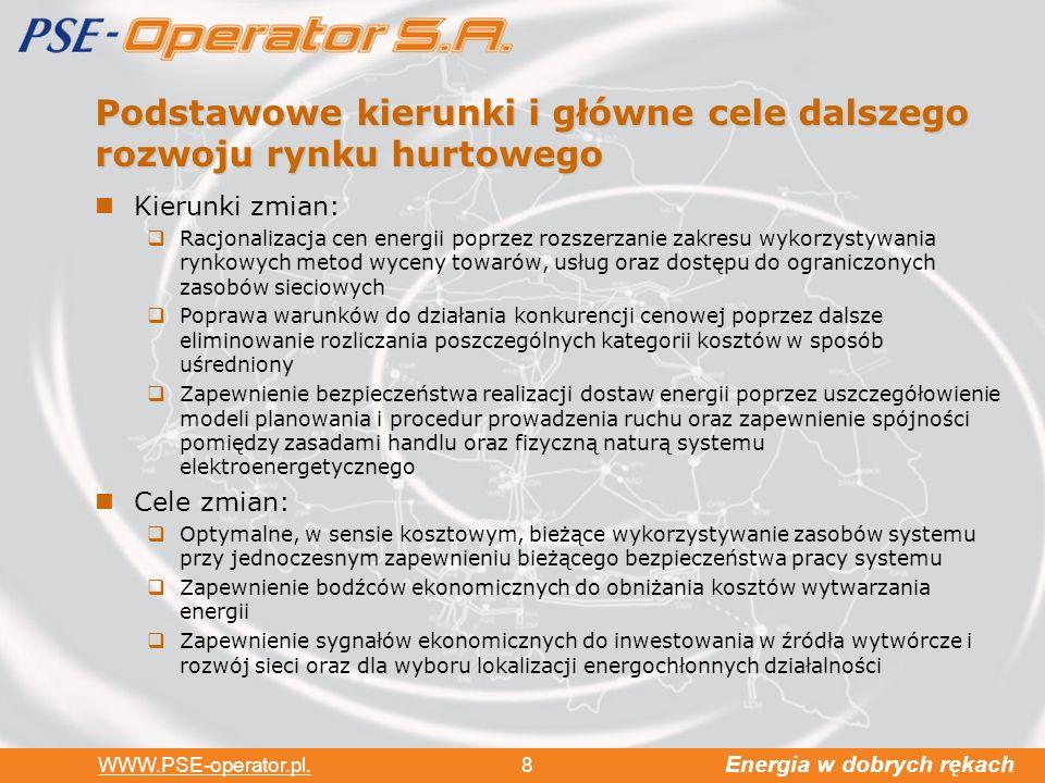 Energia w dobrych rękach WWW.PSE-operator.pl. 8 Podstawowe kierunki i główne cele dalszego rozwoju rynku hurtowego Kierunki zmian: Racjonalizacja cen