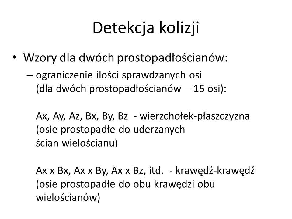 Detekcja kolizji Wzory dla dwóch prostopadłościanów: – ograniczenie ilości sprawdzanych osi (dla dwóch prostopadłościanów – 15 osi): Ax, Ay, Az, Bx, By, Bz - wierzchołek-płaszczyzna (osie prostopadłe do uderzanych ścian wielościanu) Ax x Bx, Ax x By, Ax x Bz, itd.