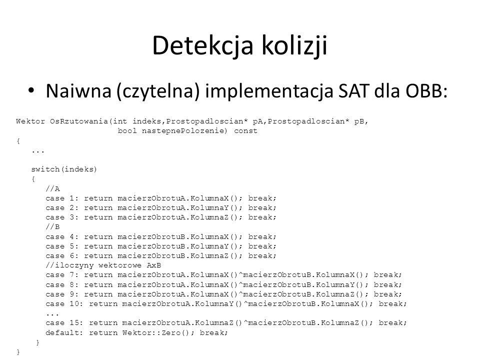 Detekcja kolizji Naiwna (czytelna) implementacja SAT dla OBB: Wektor OsRzutowania(int indeks,Prostopadloscian* pA,Prostopadloscian* pB, bool nastepnePolozenie) const {...