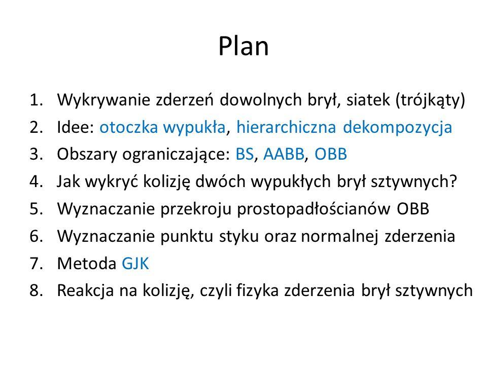 Plan 1.Wykrywanie zderzeń dowolnych brył, siatek (trójkąty) 2.Idee: otoczka wypukła, hierarchiczna dekompozycja 3.Obszary ograniczające: BS, AABB, OBB 4.Jak wykryć kolizję dwóch wypukłych brył sztywnych.