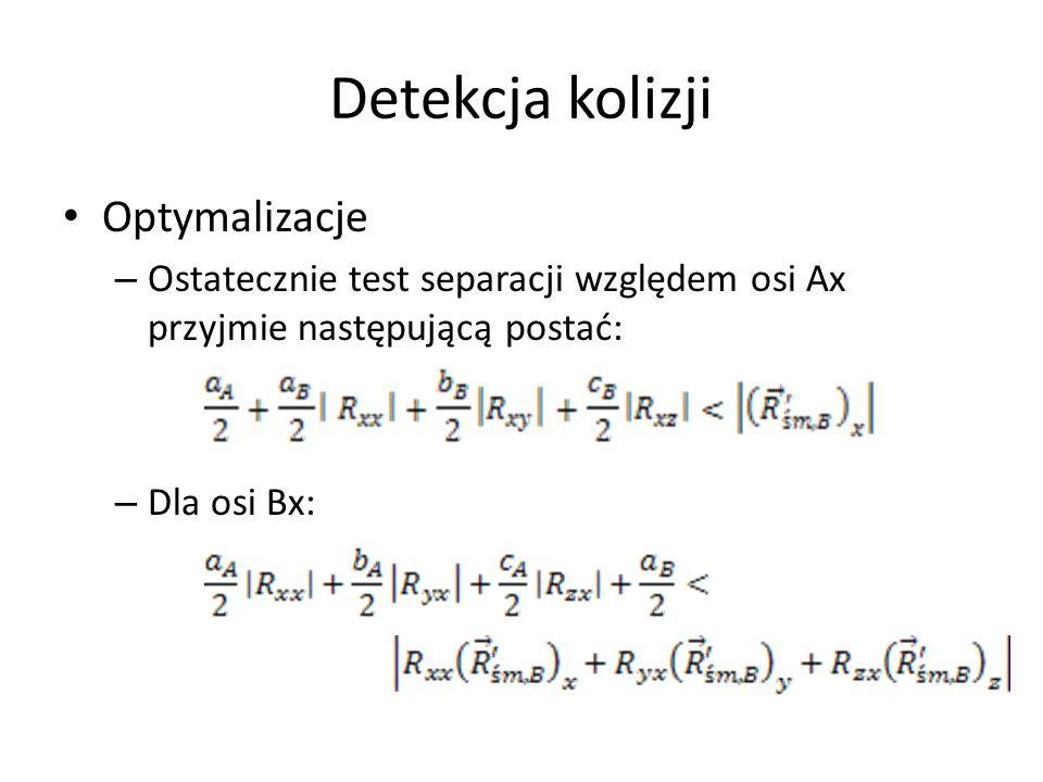 Detekcja kolizji Optymalizacje – Ostatecznie test separacji względem osi Ax przyjmie następującą postać: – Dla osi Bx:
