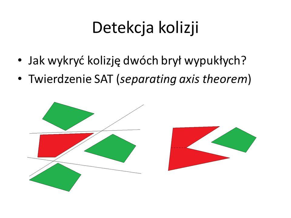 Detekcja kolizji Oś rozdzielenia (oś na której widać separację) Kolizja gdy rzut odległości środków na wszystkie osie jest mniejszy od sumy połówek rzutów całych brył na tę oś