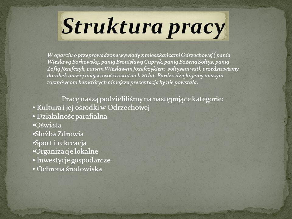 W oparciu o przeprowadzone wywiady z mieszkańcami Odrzechowej ( panią Wiesławą Borkowską, panią Bronisławą Cupryk, panią Bożeną Sołtys, panią Zofią Jó