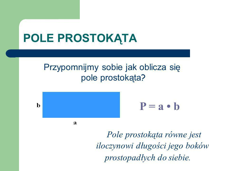 POLE PROSTOKĄTA P = a b Pole prostokąta równe jest iloczynowi długości jego boków prostopadłych do siebie. Przypomnijmy sobie jak oblicza się pole pro