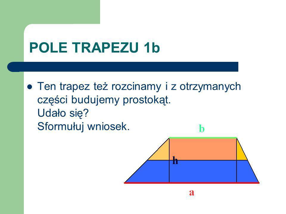 POLE TRAPEZU 1b Ten trapez też rozcinamy i z otrzymanych części budujemy prostokąt. Udało się? Sformułuj wniosek.