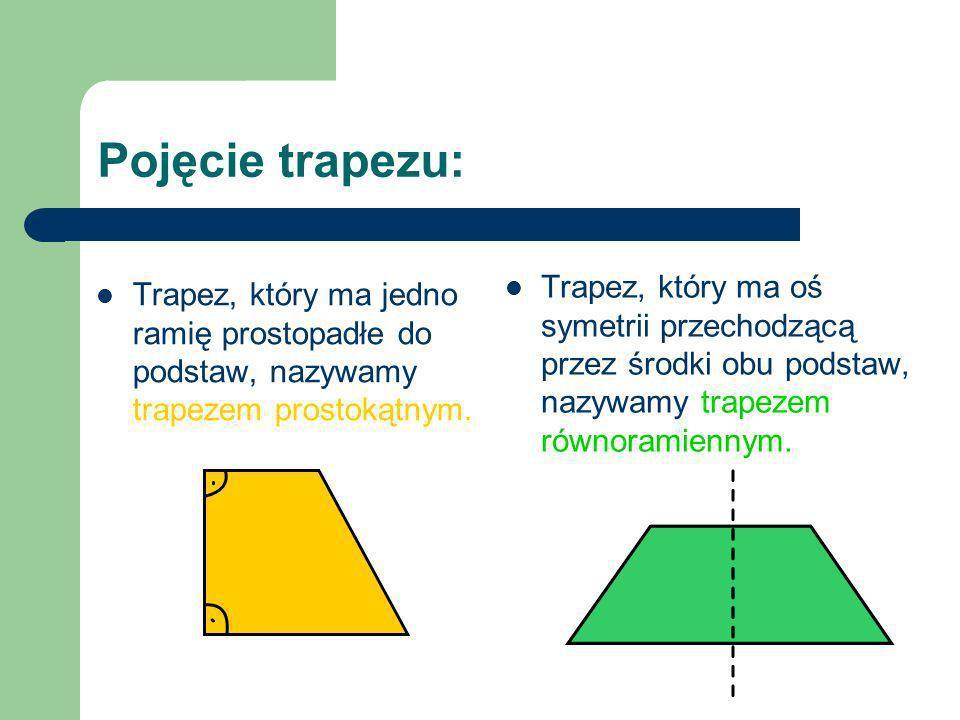 Pojęcie trapezu: Trapez, który ma jedno ramię prostopadłe do podstaw, nazywamy trapezem prostokątnym. Trapez, który ma oś symetrii przechodzącą przez