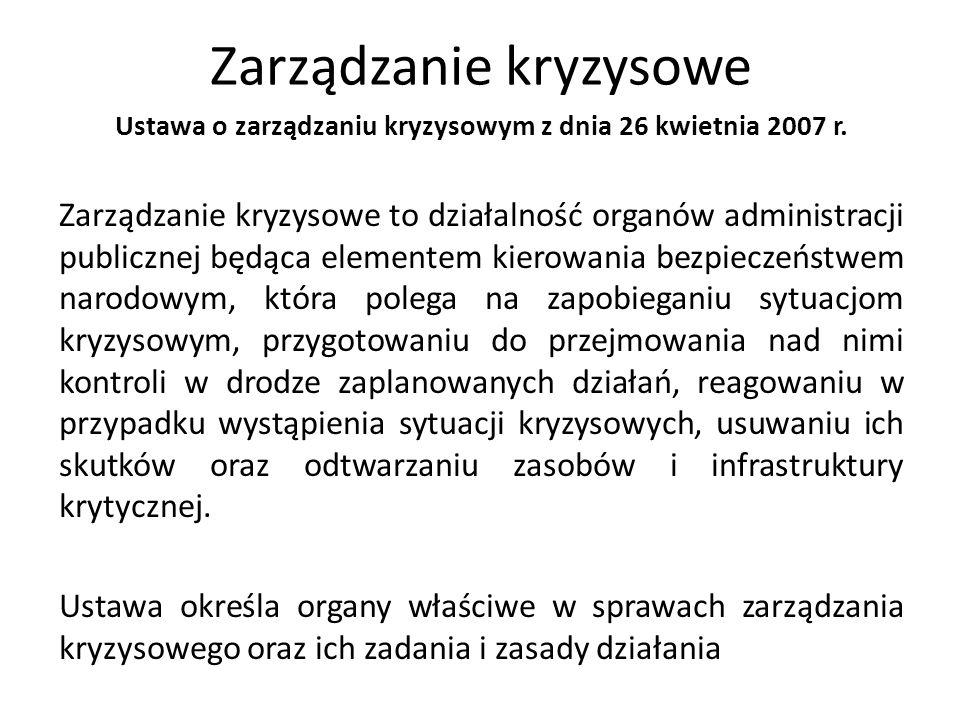 Zarządzanie kryzysowe Ustawa o zarządzaniu kryzysowym z dnia 26 kwietnia 2007 r. Zarządzanie kryzysowe to działalność organów administracji publicznej