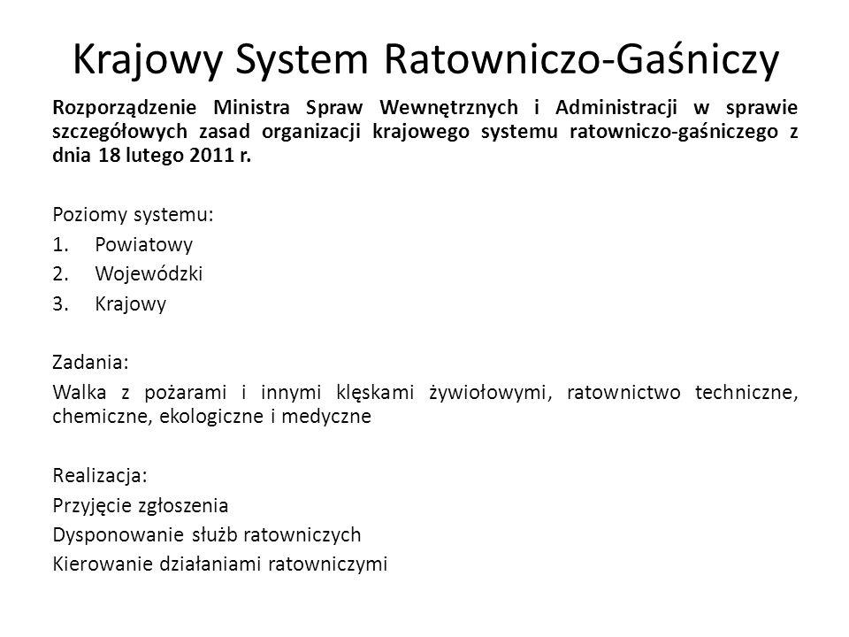 Krajowy System Ratowniczo-Gaśniczy Rozporządzenie Ministra Spraw Wewnętrznych i Administracji w sprawie szczegółowych zasad organizacji krajowego syst