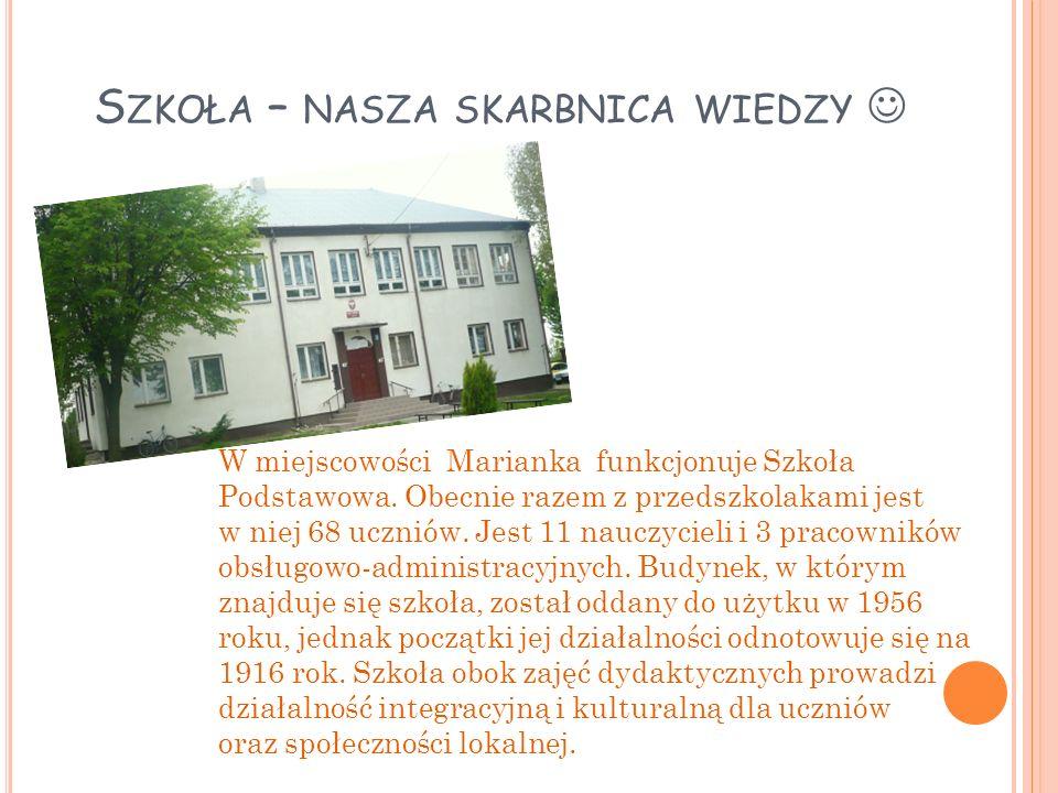 S ZKOŁA – NASZA SKARBNICA WIEDZY W miejscowości Marianka funkcjonuje Szkoła Podstawowa.