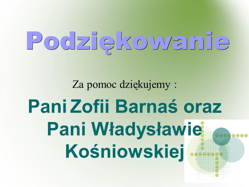 Podziękowanie Za pomoc dziękujemy : Pani Zofii Barnaś oraz Pani Władysławie Kośniowskiej